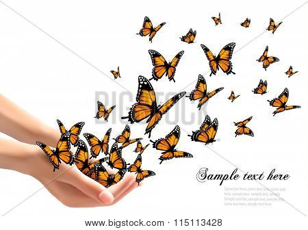 Hands releasing butterflies. Vector illustration