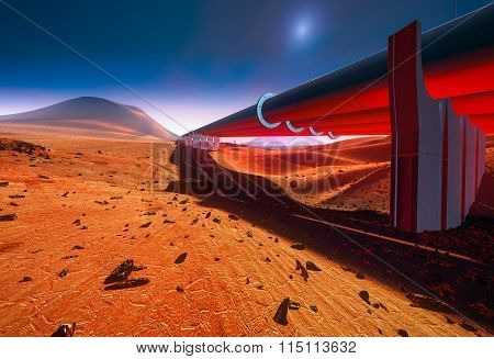Water Pipelines On Mars or desert