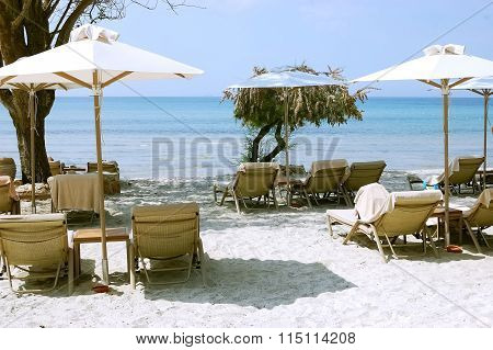 Sea And Umbrellas In Greece.
