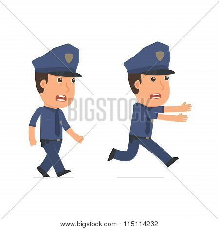 Angry And Frightened Character Officer Goes And Runs