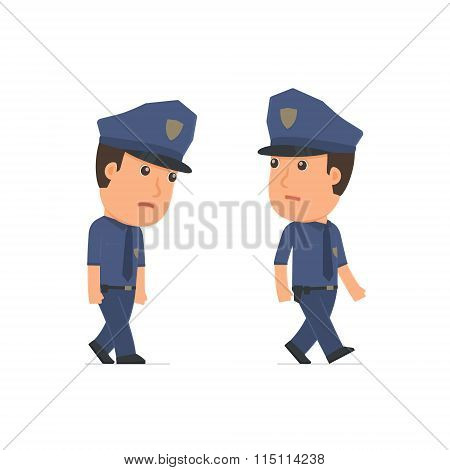 Sad And Frustrated Character Officer Goes And Drags