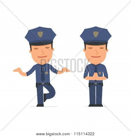 Calm And Blanced Character Officer Does Yoga And Meditates
