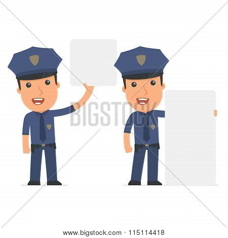 Funny Character Officer Holds And Interacts With Blank Forms Or Objects
