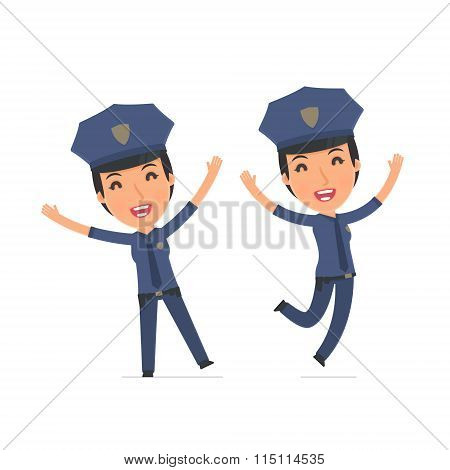 Laughing And Joyful Character Constabulary Celebrates And Jumps