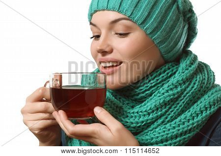 Cold, Beautiful Girl Drinking Tea