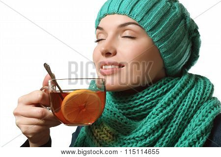 Beautiful Girl Drinking Tea With Lemon