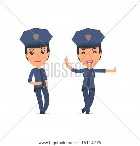 Smart And Funny Character Constabulary Leaned Against The Wall And Shares Information