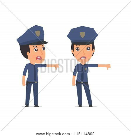 Frustrated And Angry Character Constabulary Showing Thumb Down As A Symbol Of Negative