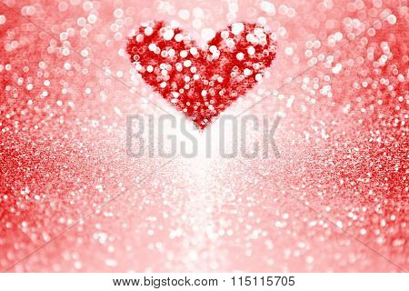 Red Sparkle Heart Valentine Background