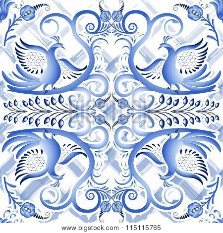 Blue Seamless Light Pattern In Ethnic Style Gzhel A Watercolor Substrate. Stylized Painting On Porce