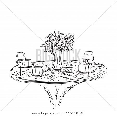 Vector illustration of a romantic table for two