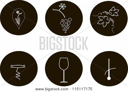 Black and white round wine icons, line style. Thin white lines on a black background