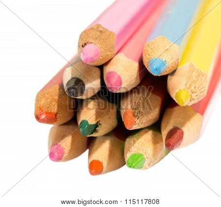 Some Colored Pencils, Edges Are Directed On The Viewer
