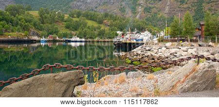 Norway. A View Of Pier On The Bank Of The Fjord