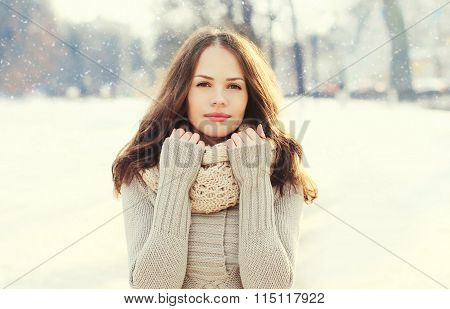 Portrait Beautiful Young Woman Over Snowflakes In Winter Day