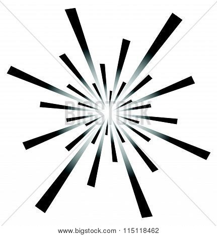 Radiating, Converging Lines. Abstract Monochrome Vector Element. Irregular Radial Lines.