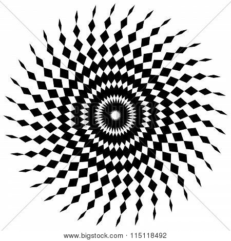 Abstract Spiral Shape In Angular Style. Monochrome Vector Art.