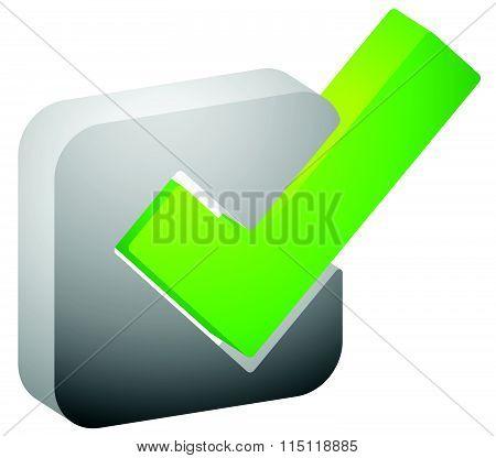 3D Green Check Mark, Tick Icon. Vector Illustration.