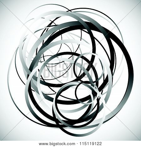 Random Intersecting Circles, Rings. Abstract Monochrome, Grayscale Vector Element.