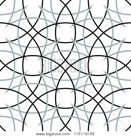 Geometric, Minimalist Pattern With Intersecting Circles. Monochrome, Grayscale Vector Texture.
