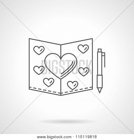 Valentines Day card flat line vector icon