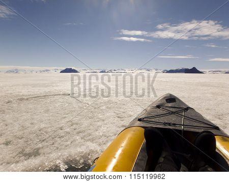 Kayak On Fast Ice, Gustaf Sound, Antarctica