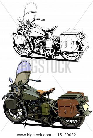 motorcycle vintage illustration