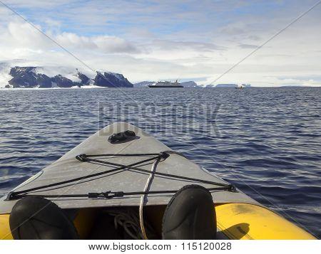 Kayaking Around Cruise Ship, Gustaf Sound, Wheddle Sea, Antarctica