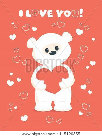 White Teddy Valentines Card Coral
