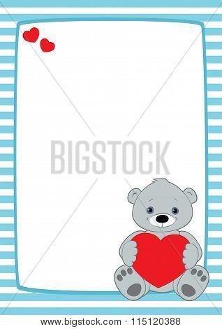 Light Blue Frame Grey Teddy