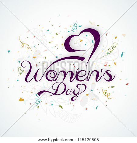 Stylish text Women's Day with heart shape for International Women's Day celebration.