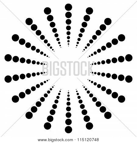 Dotted Radial Motif, Shape. Abstract Design Element.
