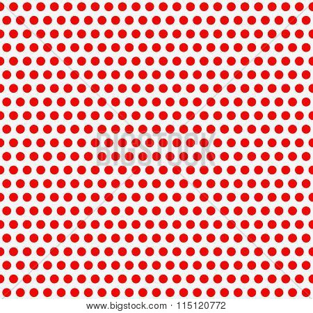 Red And White, Duotone Dotted, Polka Dot Background. Vector Illustration.