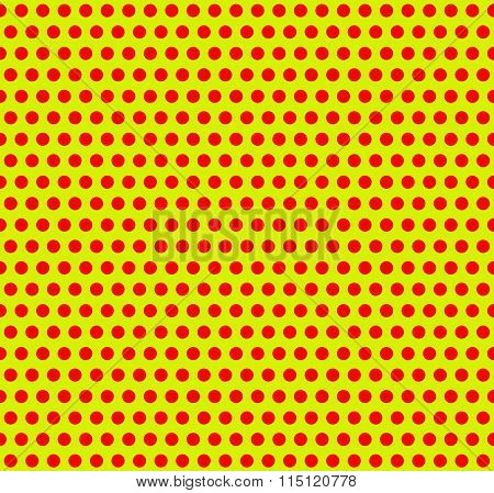 Dotted Pop-art, Polka Dot Background. Yellow, Red Repeatable Pattern With Circles.
