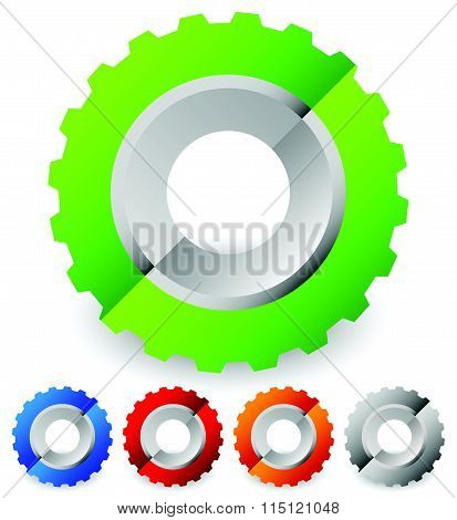 Colorful Gearwheel, Cogwheel, Gear Shapes For Mechanics, Industry Or Production, Development Concept