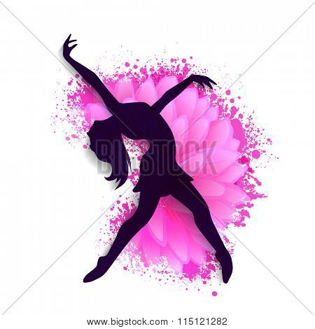 Silhouette of a young girl in dancing pose on beautiful flower decorated background for Happy Women's Day celebration.