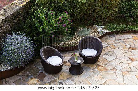 garden furniture on the terrace