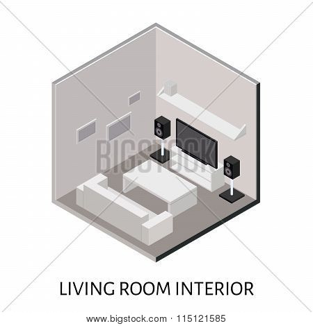 Isometric living room with plasma TV stereo system