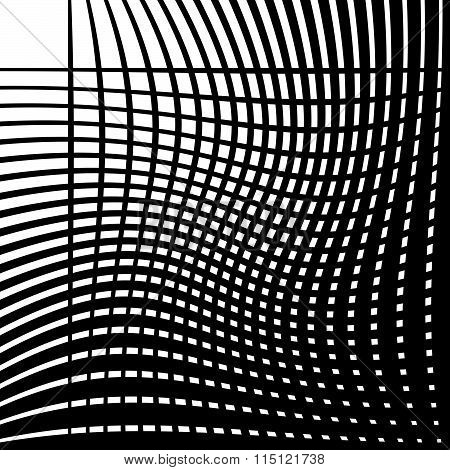 Intersecting Lines With Torsion, Warp. Editable Vector.