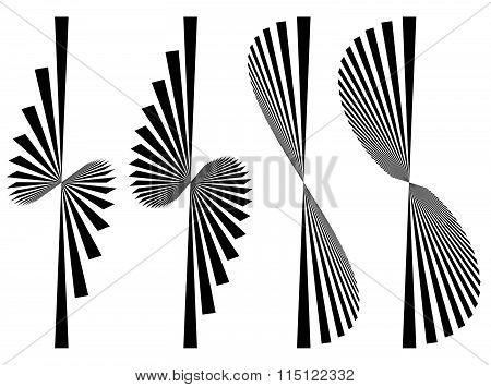 Set 4 Abstract Elements. Asymmetric Converging, Radial Lines.