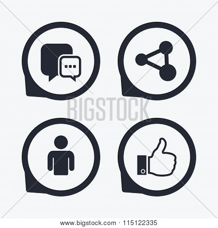 Social media icons. Chat speech bubble and Share
