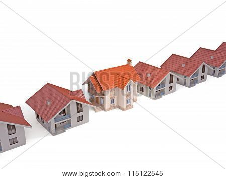Different homes isolated on white