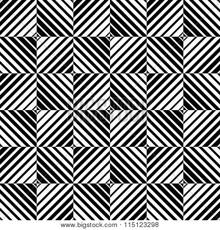 Abstract Monochrome Pattern With Squares. Seamlessly Repeatable.