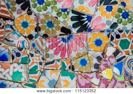 Ceramic Mosaics In Park Guell By Antoni Gaudi