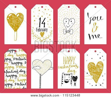 Set of 8 printable hand drawn holiday label in black white and gold. Valentine's Day
