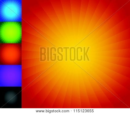 Colorful Starburst (sunburst) Background Set. Converging, Radiating Lines Patterns.