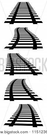 3D, Vanishing Railway Tracks. Railroads In Perspective.