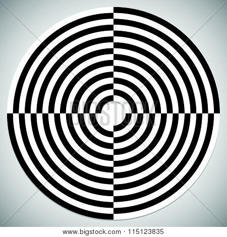 Checkered Circle. Single Abstract Shape On White.