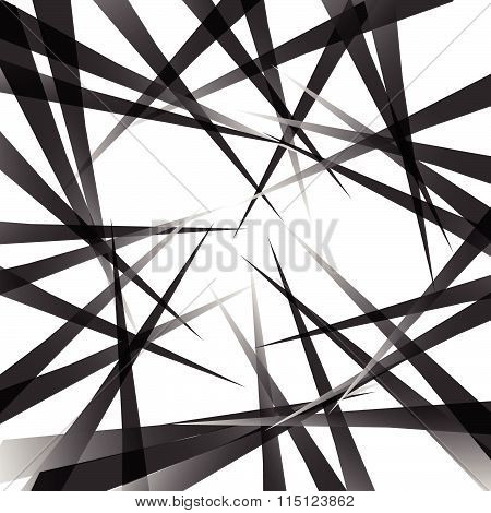 Random Pointed Lines. Edgy, Grayscale Background, Pattern. Vector Art.