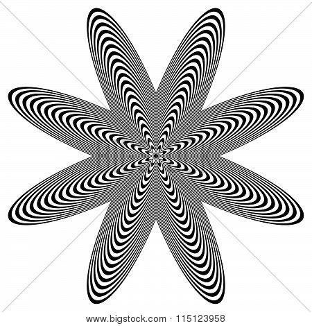 Abstract Lined Shape With Distortion Effect Isolated On White.